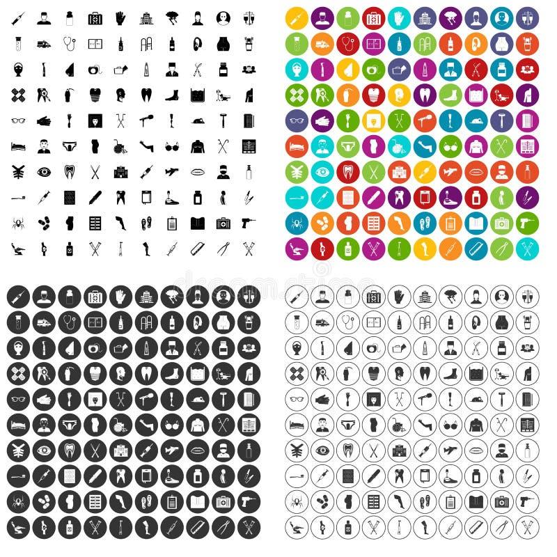 100 vettore fissato di assistenza medica icone variabile illustrazione di stock