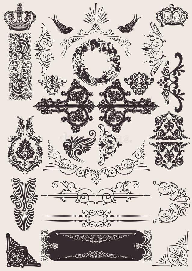 Vettore fissato: elementi calligrafici di disegno illustrazione di stock