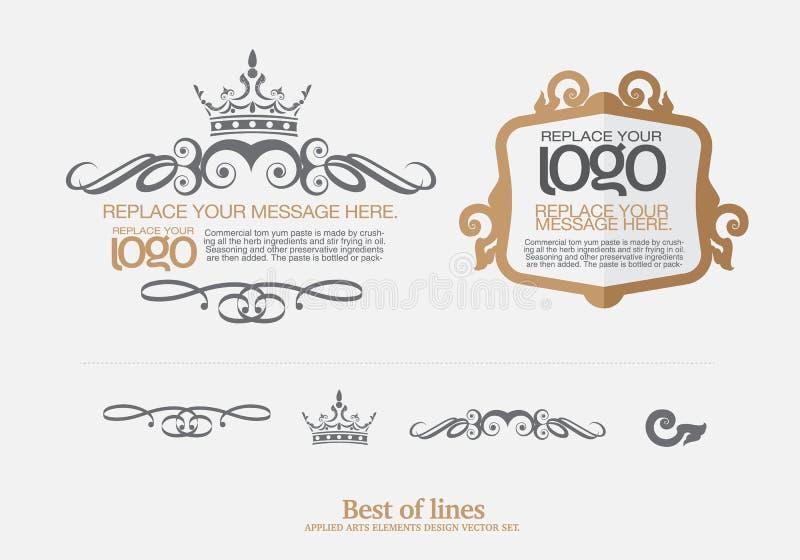 Vettore fissato: elementi di progettazione di arte e decorazione tailandesi della pagina illustrazione di stock