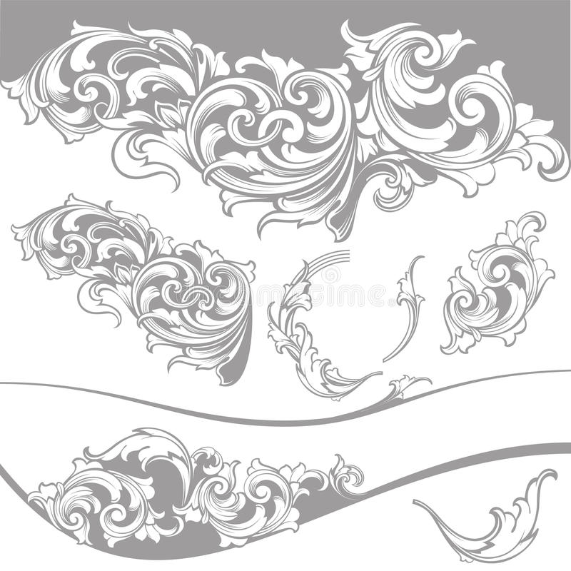 Vettore fissato: Elementi di progettazione e decorazione barrocco della pagina illustrazione di stock