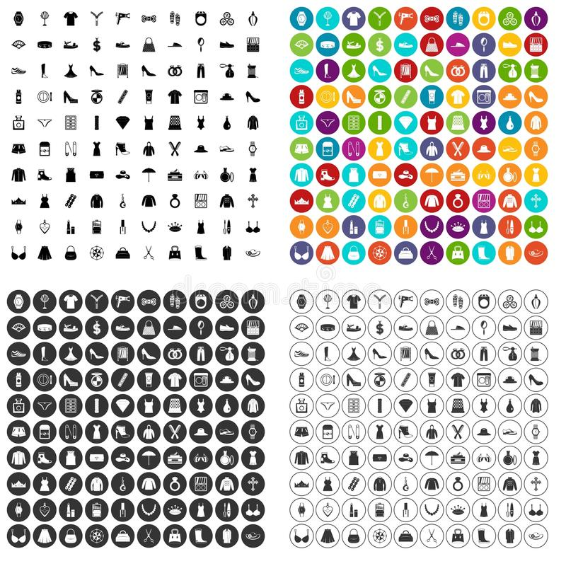 vettore fissato icone degli accessori di 100 donne variabile illustrazione vettoriale