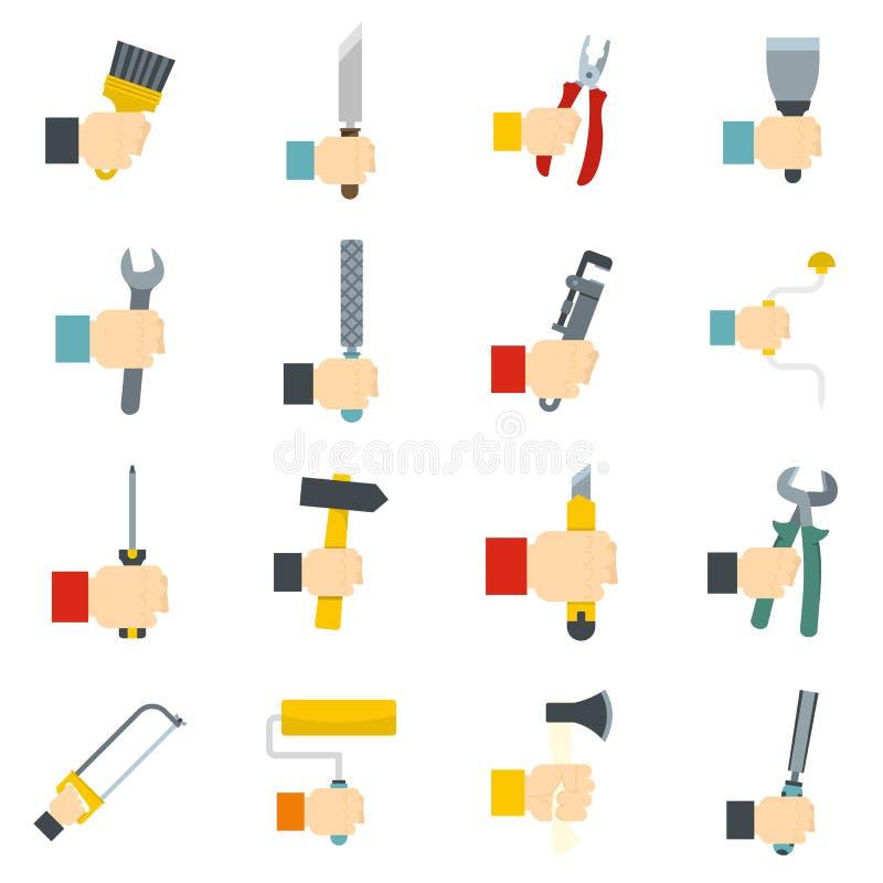 Vettore fissato icone degli attrezzi per bricolage piano illustrazione di stock