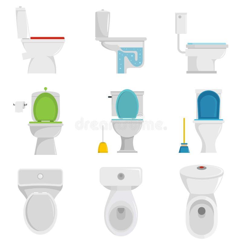 Vettore fissato icone della ciotola di toilette isolato royalty illustrazione gratis
