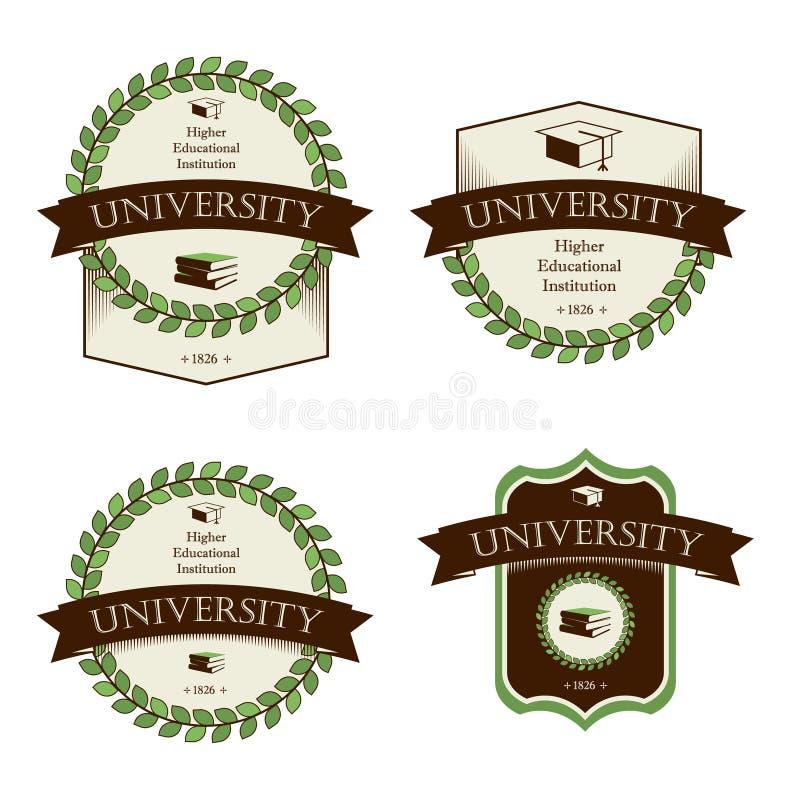 Vettore fissato icone della scuola dell'università illustrazione di stock