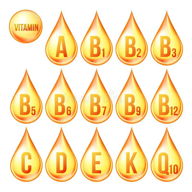 Vettore fissato icone della vitamina Icona organica di goccia dell'oro della vitamina Gocciolina, sostanza dorata complesso 3D co illustrazione di stock