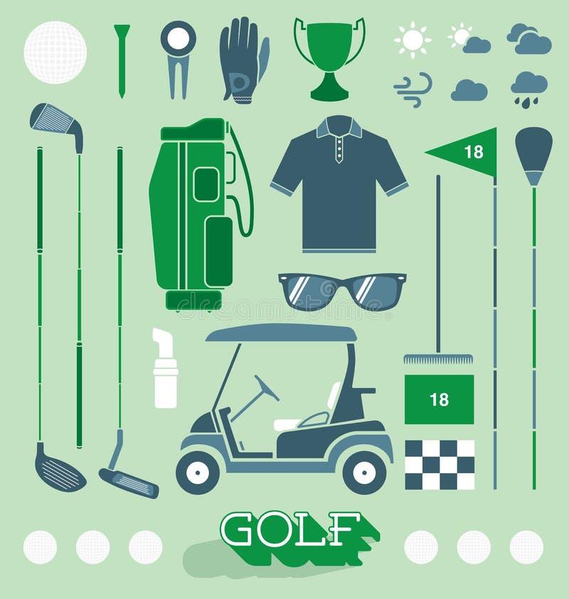 Vettore fissato: Icone e siluette dell'attrezzatura di golf illustrazione vettoriale