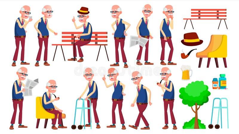Vettore fissato pose dell'uomo anziano Anziani Persona senior invecchiato Nonno amichevole Insegna, aletta di filatoio, progettaz illustrazione di stock