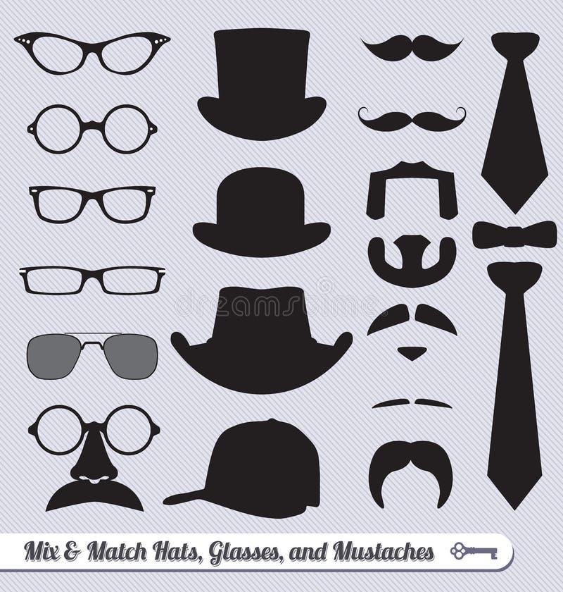 Vettore fissato: Vetri, baffi, cappelli e legami royalty illustrazione gratis