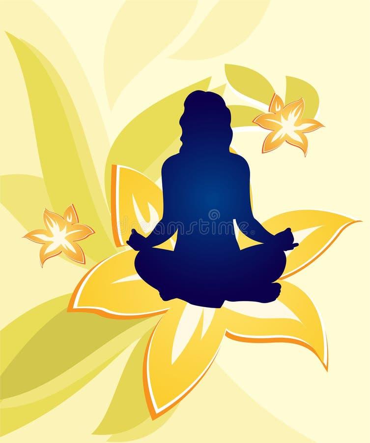 Vettore floreale della donna di yoga illustrazione di stock