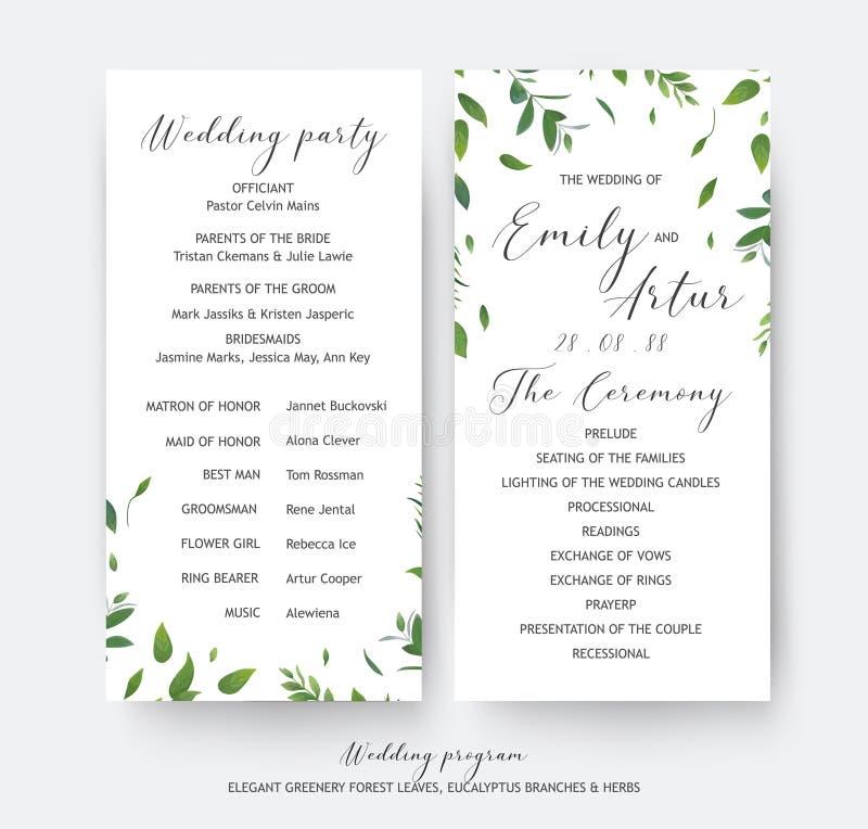 Vettore floreale delle carte di cerimonia della pianta di nozze e di programma del partito royalty illustrazione gratis