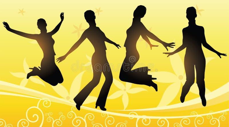 Vettore floreale di salto delle ragazze illustrazione vettoriale