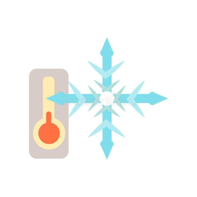 Vettore freddo dell'icona isolato su fondo bianco, segno freddo, simboli di tempo illustrazione di stock