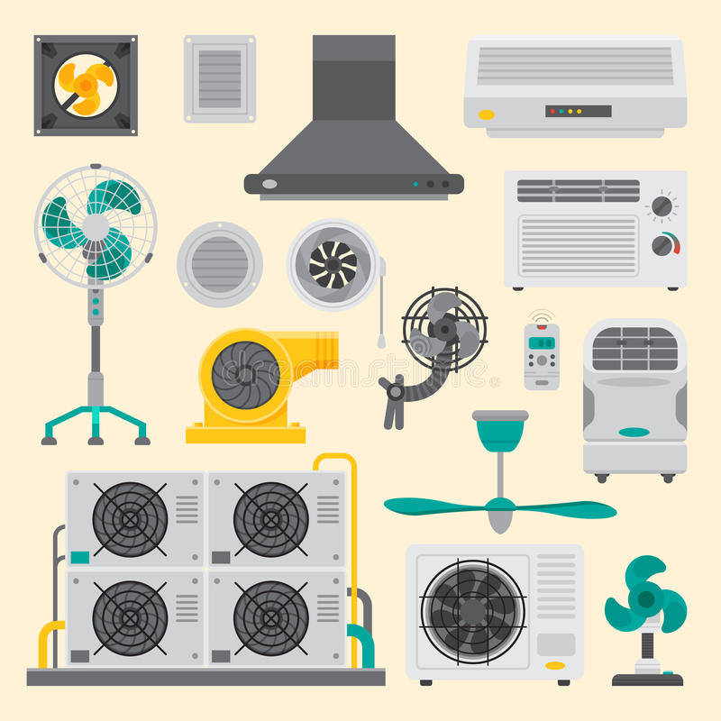 Vettore fresco di condizionamento di temperatura di tecnologia del fan di clima del ventilatore dell'attrezzatura di sistemi dell royalty illustrazione gratis