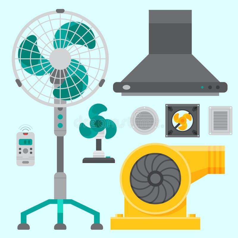 Vettore fresco di condizionamento di temperatura di tecnologia del fan di clima del ventilatore dell'attrezzatura di sistemi dell illustrazione di stock