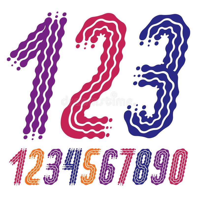 Vettore funky, raccolta decorata di numeri I numeri arrotondati di grassetto corsivo da 0 a 9 possono essere utilizzati in retro, illustrazione vettoriale