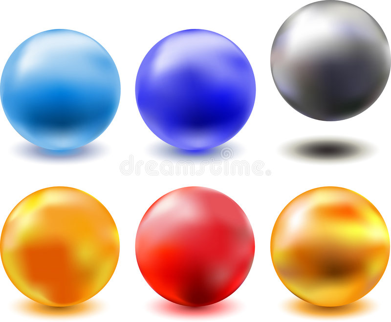 Vettore fuori - bicromato di potassio - dalle sfere di vetro metalliche illustrazione vettoriale