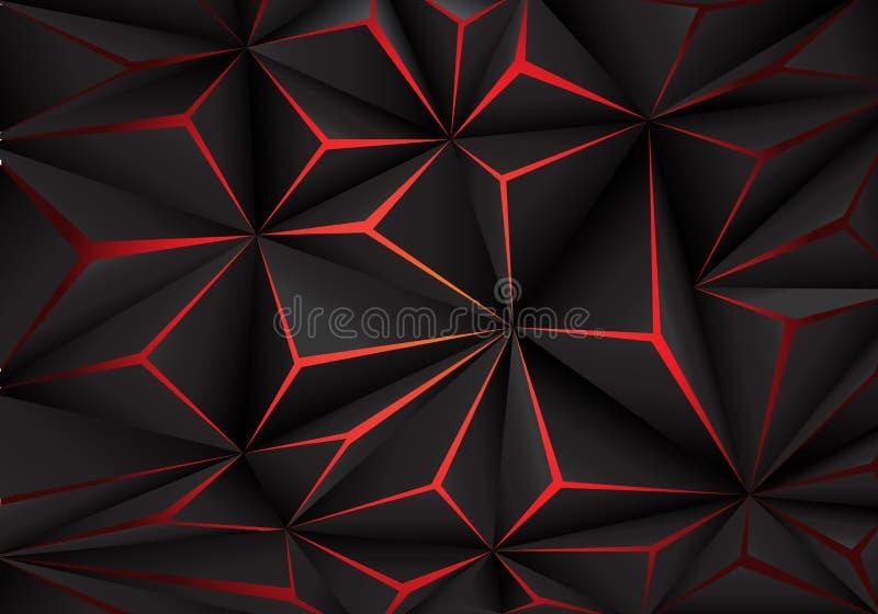 Vettore futuirstic nero astratto del fondo di progettazione di tecnologia della luce rossa del poligono illustrazione vettoriale