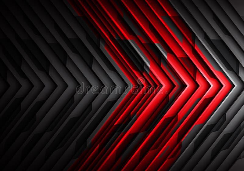 Vettore futuristico moderno del fondo del metallo della freccia di progettazione grigia rossa astratta del modello 3D illustrazione vettoriale