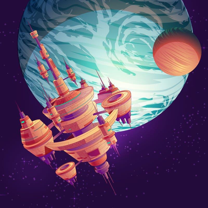 Vettore futuro di starship, della stazione spaziale o della città illustrazione di stock