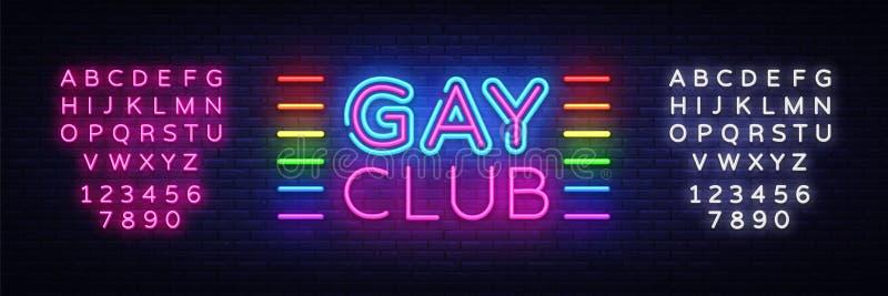 Vettore gay dell'insegna al neon del club Insegna al neon gay del modello di progettazione del club, insegna leggera, insegna al  royalty illustrazione gratis