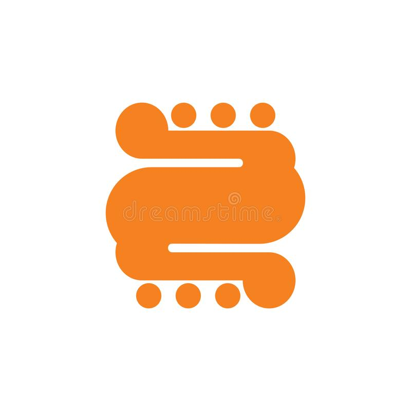 Vettore geometrico di logo dei punti delle curve di numero 2 illustrazione di stock