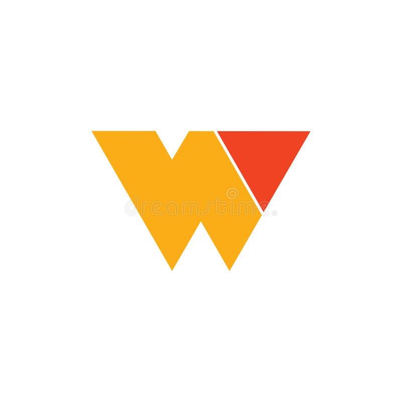 Vettore geometrico semplice astratto di logo della freccia del triangolo della lettera w illustrazione di stock