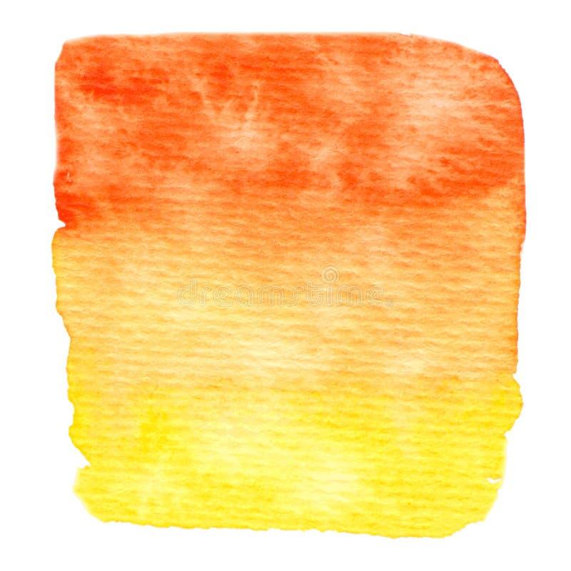 Vettore giallo e struttura arancio della pittura isolata sull'insegna bianco- dell'acquerello illustrazione di stock
