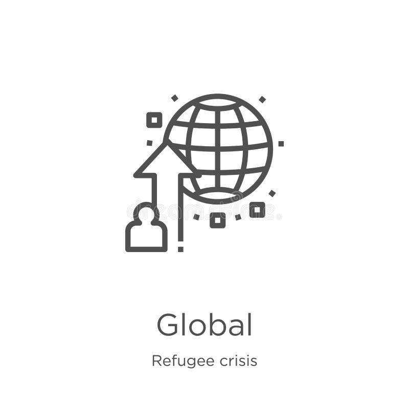 vettore globale dell'icona dalla raccolta di crisi del rifugiato Linea sottile illustrazione globale di vettore dell'icona del pr royalty illustrazione gratis