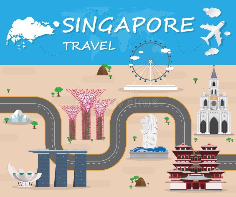 Vettore globale di Infographic di viaggio e di viaggio del punto di riferimento di Singapore illustrazione vettoriale