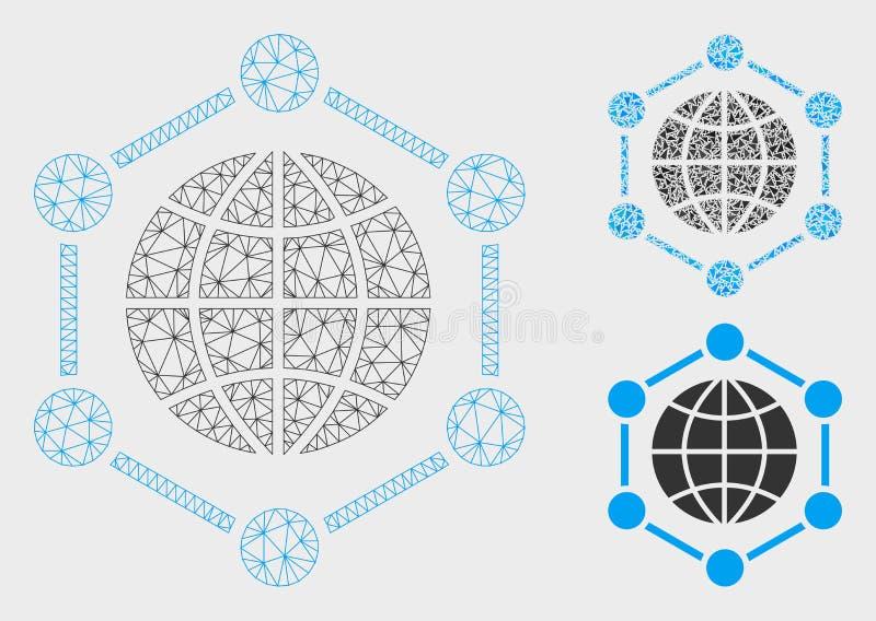 Vettore globale Mesh Wire Frame Model della struttura ed icona del mosaico del triangolo illustrazione di stock
