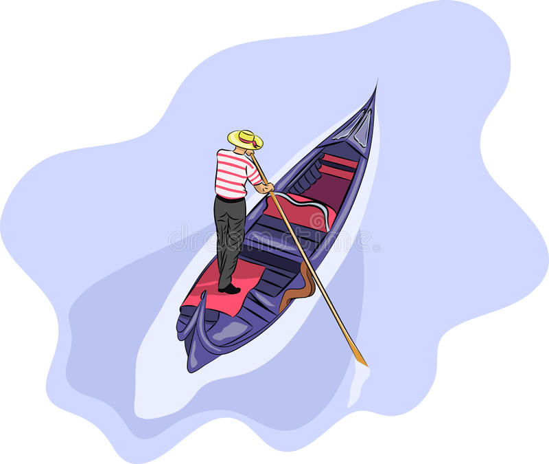 Vettore Gondoliere in una gondola illustrazione di stock