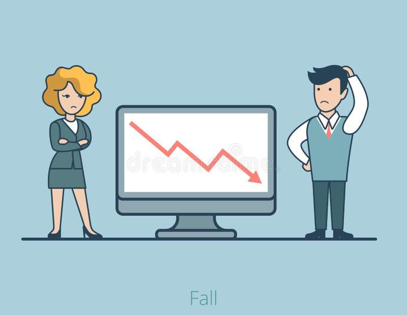 Vettore grafico IL della gente piana lineare di caduta di affari royalty illustrazione gratis