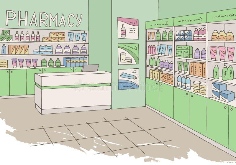 Vettore grafico interno dell'illustrazione di schizzo di colore del negozio del deposito della farmacia royalty illustrazione gratis