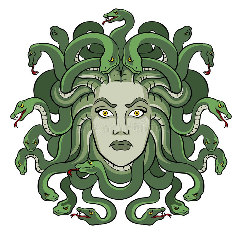 Vettore greco di Pop art della creatura di mito della medusa illustrazione di stock