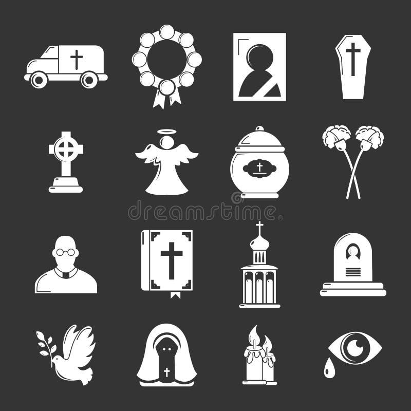 Vettore grigio fissato icone rituali funeree di servizio illustrazione vettoriale