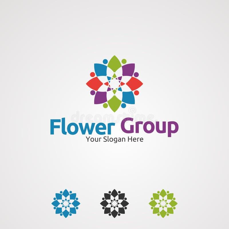 Vettore, icona, elemento e modello di logo del gruppo del fiore per la società royalty illustrazione gratis