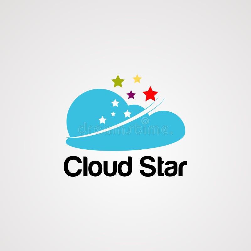 Vettore, icona, elemento e modello di logo della stella della nuvola illustrazione vettoriale
