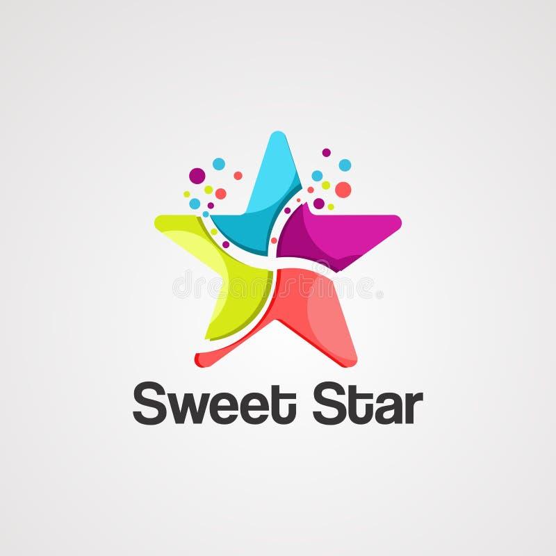 Vettore, icona, elemento e modello dolci di logo della stella illustrazione vettoriale