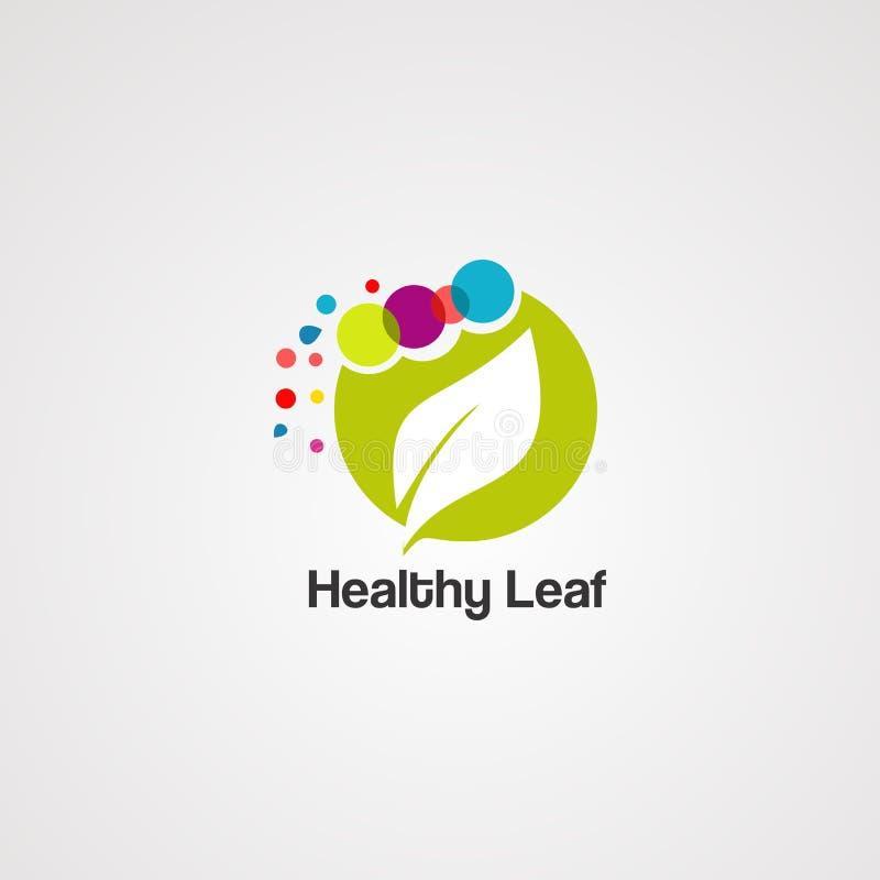 Vettore, icona, elemento e modello sani di logo della foglia illustrazione vettoriale