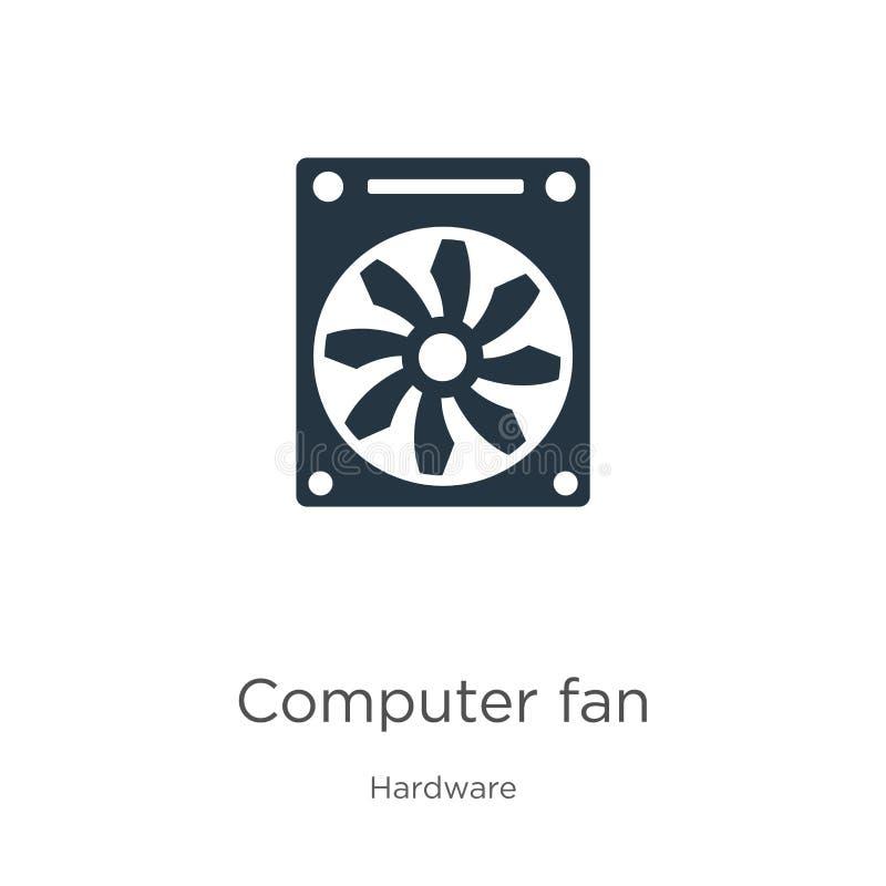 Vettore icona ventilatore del computer Icona della ventola del computer piatto in serie dalla raccolta hardware isolata su fondo  royalty illustrazione gratis
