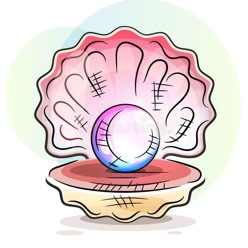 Vettore importante di immagine dell'oggetto di Shell Close Up Realistic Single della bella perla aperta naturale illustrazione vettoriale