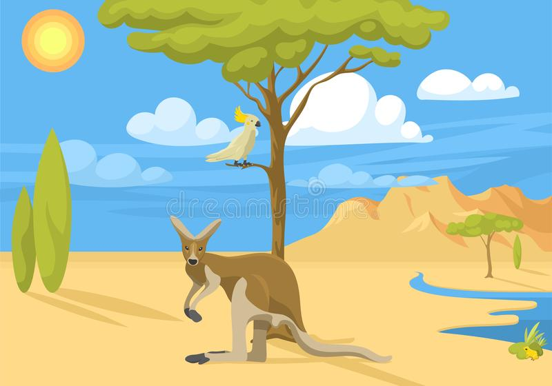 Vettore indigeno australiano della foresta del fondo dell'Australia del paesaggio degli animali del fumetto di stile piano popola illustrazione di stock