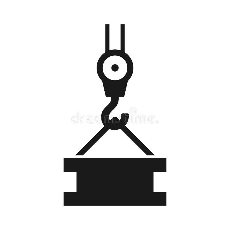 Vettore industriale dell'icona del gancio della gru bianco del fondo di simbolo dell'illustrazione illustrazione vettoriale