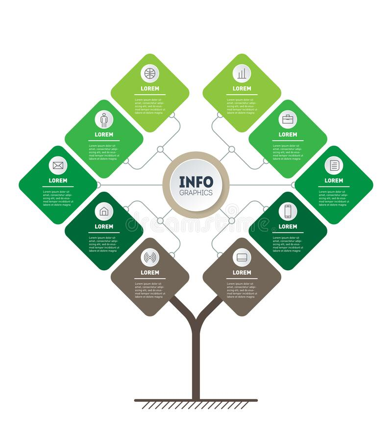 Vettore infographic del processo di istruzione o di tecnologia con 10 punti Modello dell'albero, dei grafici di informazioni o de illustrazione vettoriale