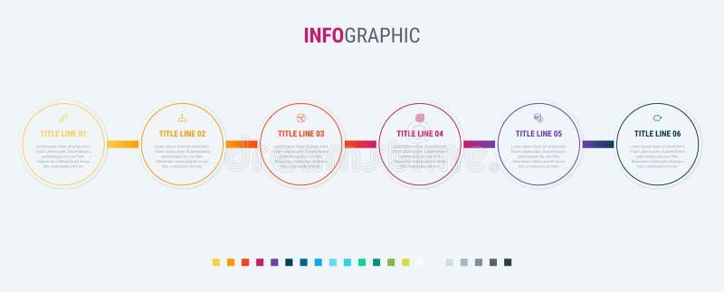 Vettore infographic di progettazione di cronologia 6 punti, hanno arrotondato la disposizione di flusso di lavoro Modello di cron royalty illustrazione gratis