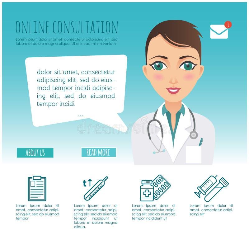 Vettore infographic Diagnosi online di sanità e consulente medico Vettore infographic Servizio medico Web o illustrazione vettoriale