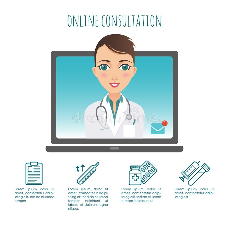 Vettore infographic Diagnosi online di sanità e consulente medico Vettore infographic Web o applicazione del cellulare illustrazione di stock