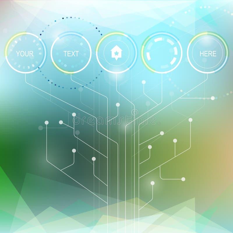 Vettore infographic o modello di web design Tecnologia astratta h royalty illustrazione gratis