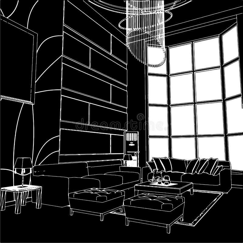 Vettore interno 01 del salone moderno illustrazione vettoriale