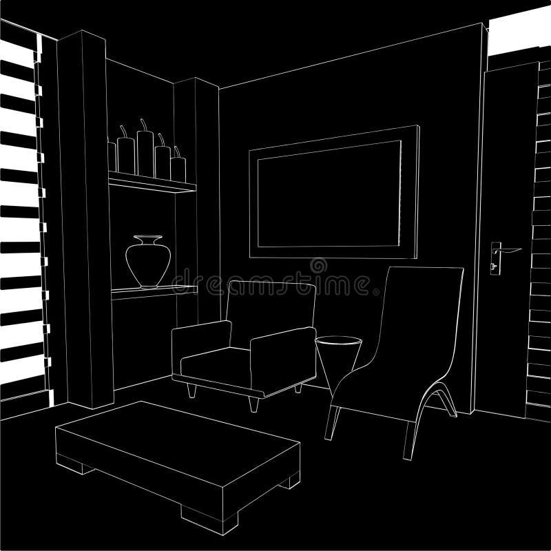 Vettore interno 02 del salone moderno illustrazione vettoriale